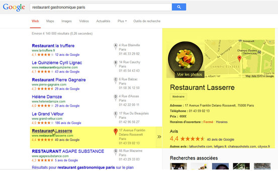 résultats Google local 1